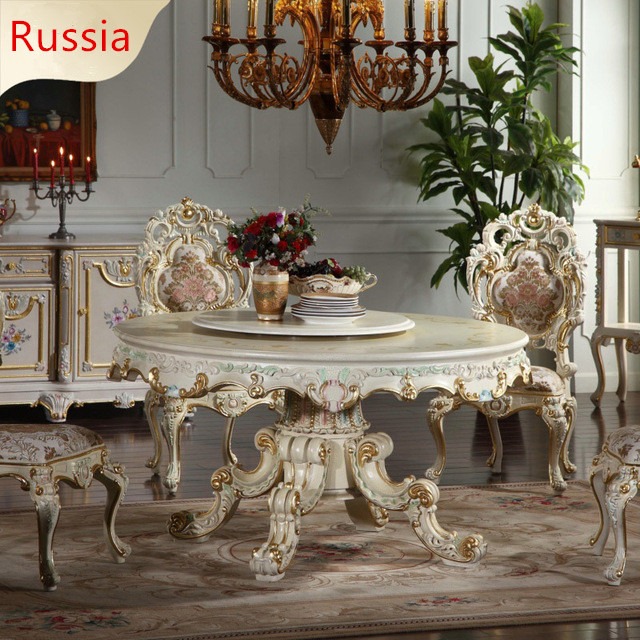 Baroque Palace table French luxury classic dinette combination Baroque European round table For Russia china factory wholesale european antique furniture royalty handcraft classic table french baroque furniture