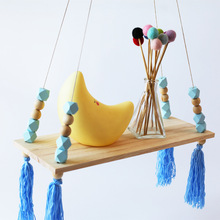 Nordic Style Decorative Wall Frame Wooden Wall Partition Storage Rack with Tassel Beaded Children Party Living Room Decorations