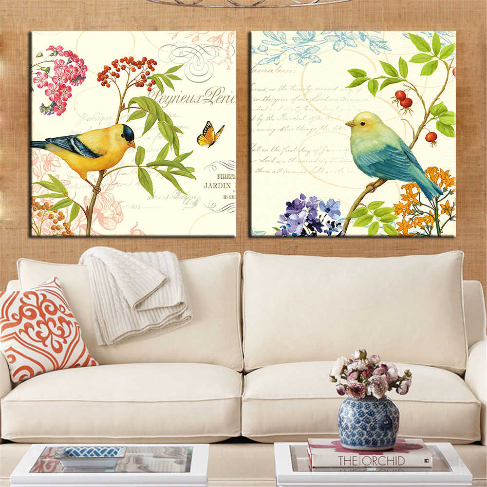 Unframed Oil Painting on Canvas Birds Posters and Prints Modern Wall Pictures for Living Room Home Decoration Wall Art 2 Pieces