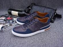 Designer Skateboarding Sko Men Blue Sneakers Men Men Shoes Ox Fur Genuine Leather Hard-Wearing Breathable 9 size and 5 colors