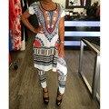 2017 Verão 2 Duas Peças Set Mulheres Sexy Ladies Imprimir Africano Dashiki Outfits Manga Curta Bodycon Ocasional Vestido Longo + calças Terno