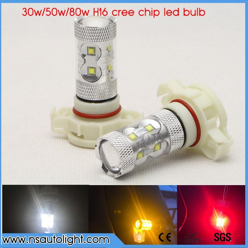 2x 30W/50W/80W H16 5202 LED Bulb CREE Chip Car Fog Light DC 12V~24V 360 Degree White/Amber/Red 6000K DRL Lamp Light Sourcing new 2pcs 20w h15 led bulb 4smd xte car fog light dc 12v 24v 360 degree 720lm white headlight 6000k lamps up to 50 000 hours