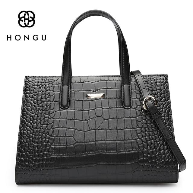 HONGU Ladies Alligator Real Crocodile Pattern Leather Bags Women Handbags Fashion Big Shoulder Zipper Versatile Busines BagsTote