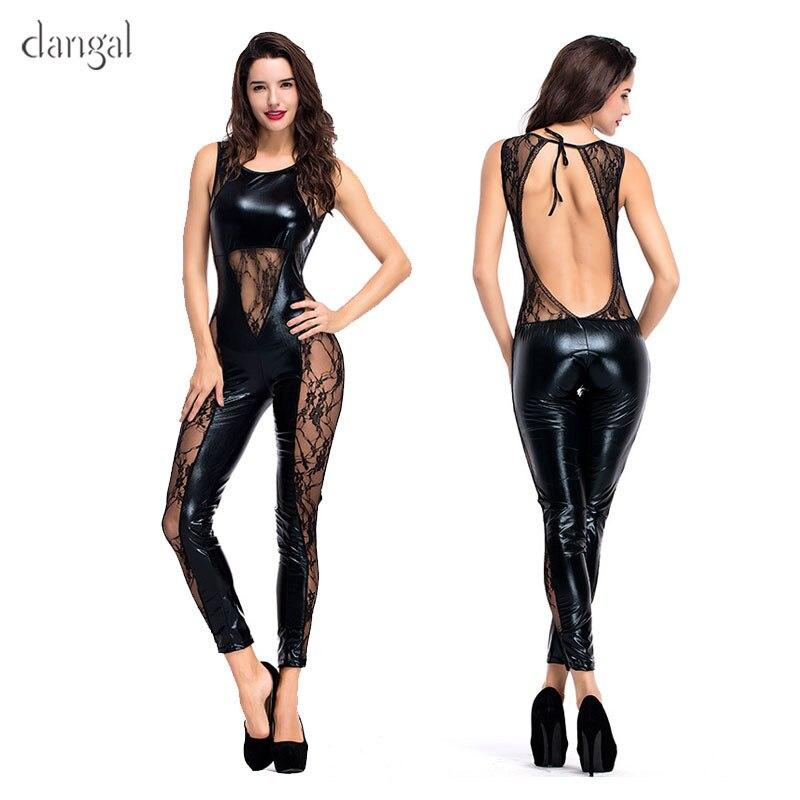 More Sexy Lace Style HOT SALE Erotic Bodysuit Women Jumpsuit Faux Leather Outfit Leotard Shiny Latex Catsuit DJ Dance Costume
