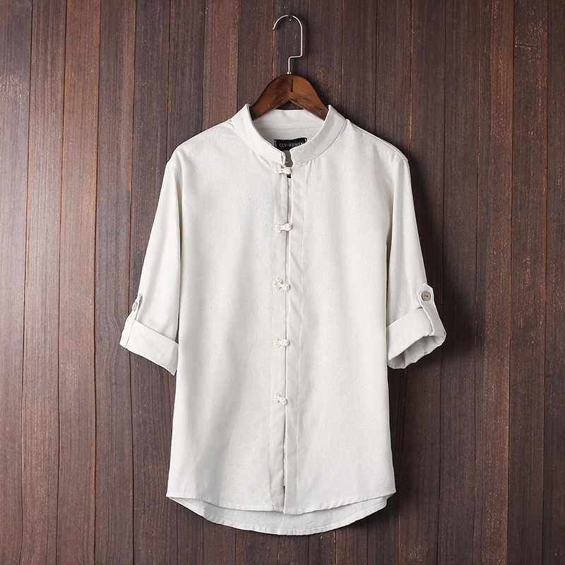 남자 블라우스 패션 중국 스타일 짧은 소매 단추 셔츠 헐렁한 코 튼 린 넨 탑 의류 통기성 편안한 탑 코트
