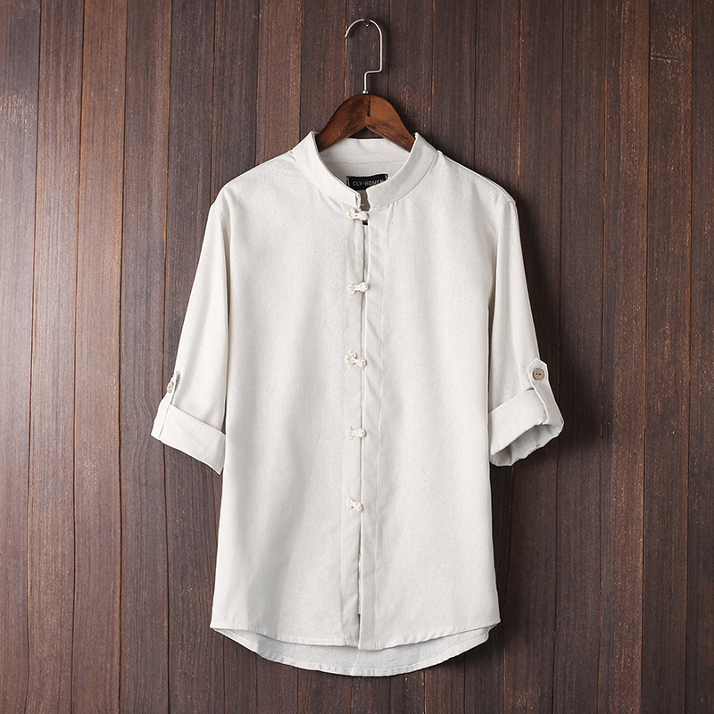 Men's Blouse Fashion Chinese Style Short Sleeve Button Shirts Baggy Cotton Linen Tops Clothes Breathable Comfortable Top Coat