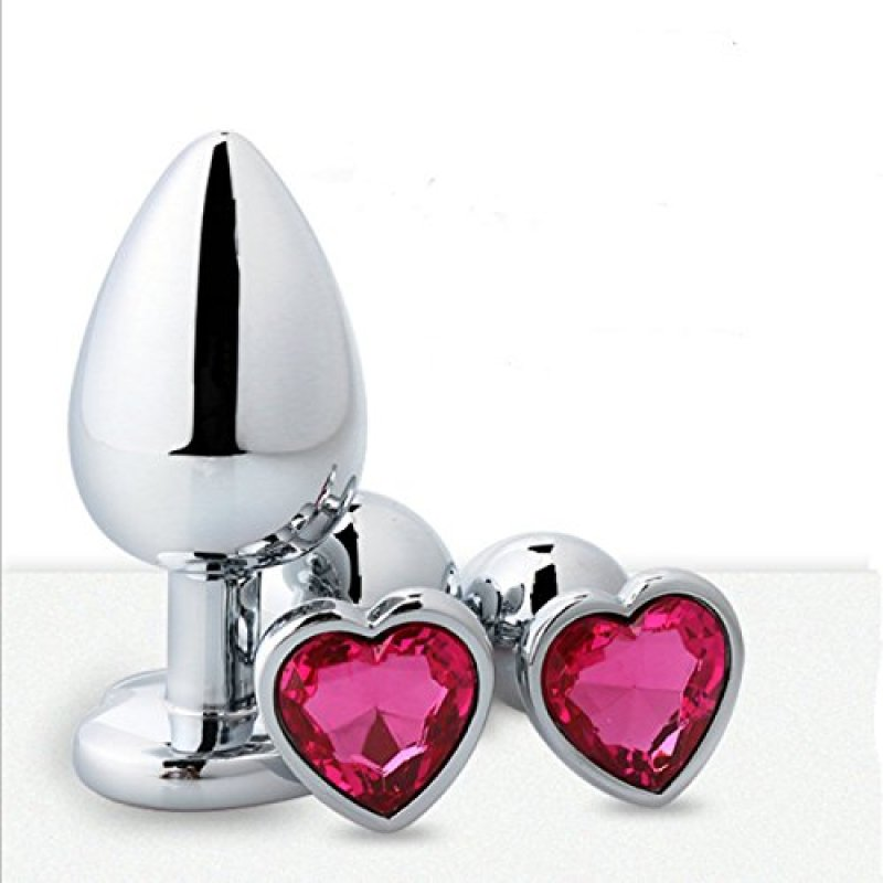 3pcs Pack Heart Shaped Stainless Steel Anal Butt Plug