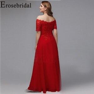 Image 2 - Elegant Formal Dresses Evening Gown Plus Size Long Evening Dress 2019 Red Elegant Party Gown Short Sleeve Robe Soiree