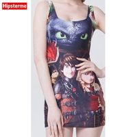 Hipsterme Summer Sexy Women Dress Sleeveless Vest Skirt Cat Ice Princess Prince Digital Print Dresses Women