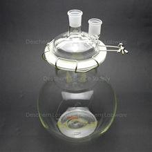 5000 мл, стеклянная реакционная емкость, 5L, 24/29, 2-образным вырезом, с плоским дном лабораторный реактор, крышкой и зажим