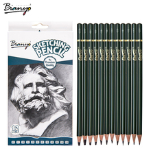 Bianyo Sketch Standard Pencil 12/Box Simple Pencil Charcoal For Drawing Professional Artist Tools Office Pencils Sets Good Gfit bianyo 12 pcs box artist soft pastel pencils crayon charcoal pencils artiste wooden non toxic pencil for sketching drawing