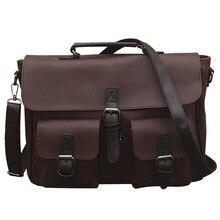 Men PU Leather Business Handbag Briefcase Vintage Shoulder Bags Male Crossbody Luxury Casual Bags Handbag 2018 Fashion Messenger цена в Москве и Питере