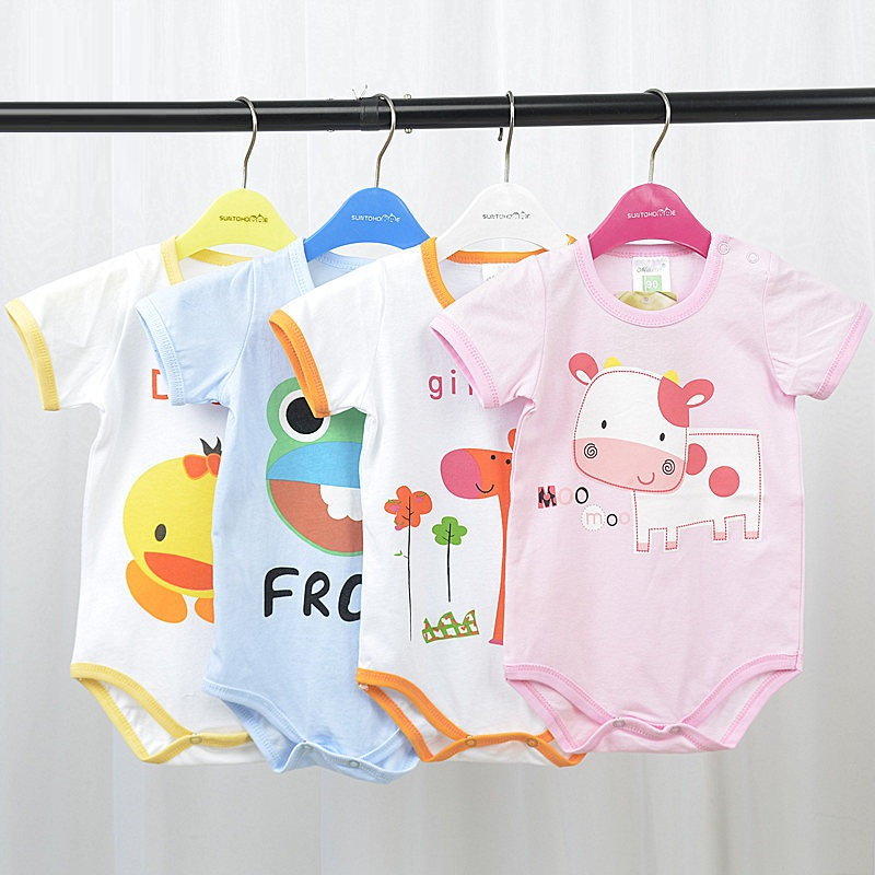 Summer Cartoon Animal Printed Short-sleeved Cotton Baby Rompers Cute Baby Girls Clothes Baby Boy Jumpsuit Infant Toddler Costume infant cute cartoon dinosaur baby boy girl rompers soft cotton car printed long sleeve toddler jumpsuit kids clothes