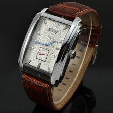 GOER brand Men's Watch Automatic mechanical fashion Men's rectangle Multifunction Watch 30M waterproof Genuine Leather