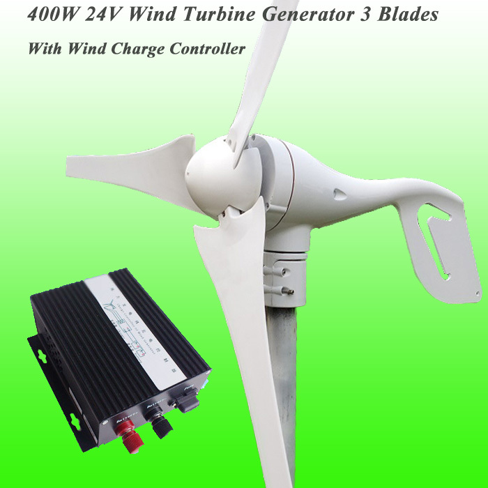 US $259 0 |Hot Selling 3 Blade Residential 400W 24V Wind Generator & MAX  600W 24V Wind Turbine Charge Controller Wind Turbine Generator Kit-in