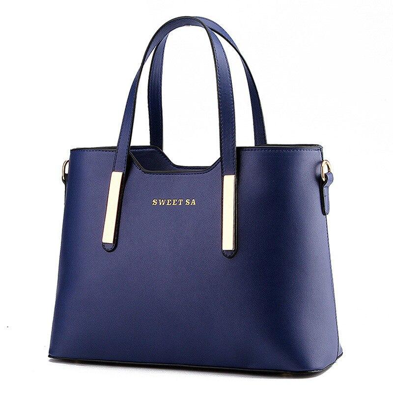 Solid Color Large Bag Simple PU Women Elegant font b Handbag b font Trendy Leisure Fashionable