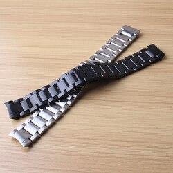 22mm srebrny od zegarków ze stali nierdzewnej zakrzywione kończy łącza stałe Metal Butterfly klamra dla mężczyzn zegarki biegów S3 Galaxy 46mm