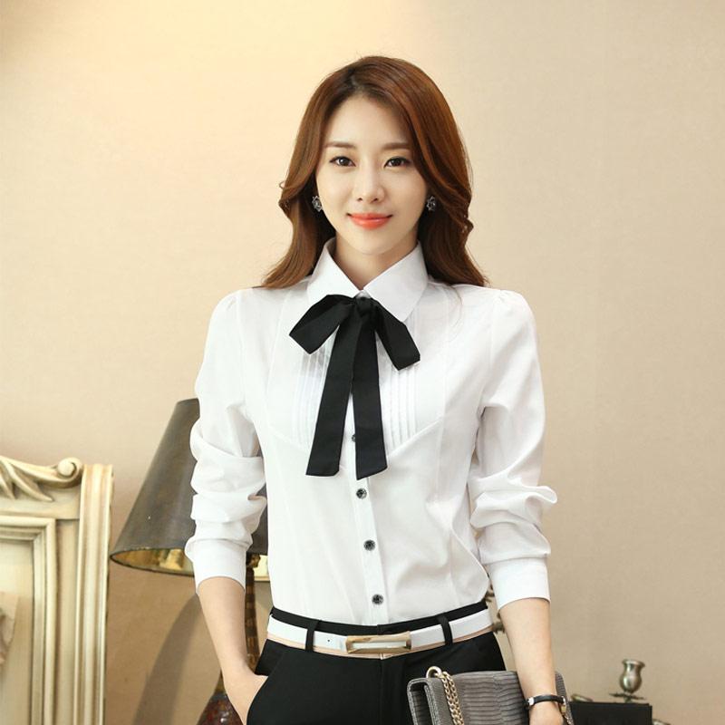 223de694602e Manga longa gravata borboleta outono nova camisa do desgaste camisa branca  tamanho grande terno trabalho profissional chiffon menina roupas de outono  Loja ...