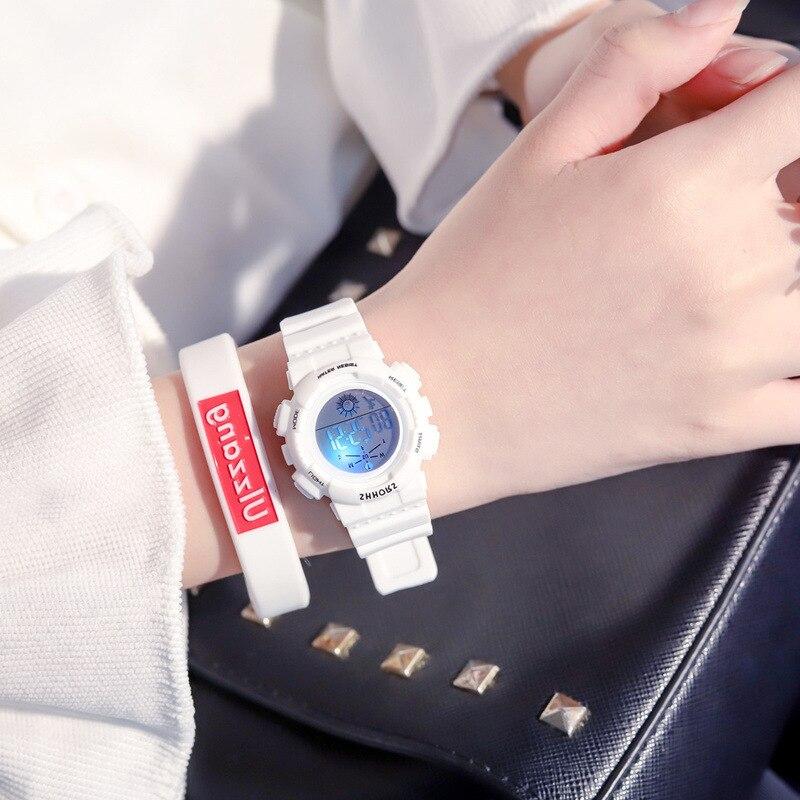Fashion Multifunction Electronic Sport Watch Woman Waterproof Rubble Student Wristwatches Female Clock Gift Montre Femme