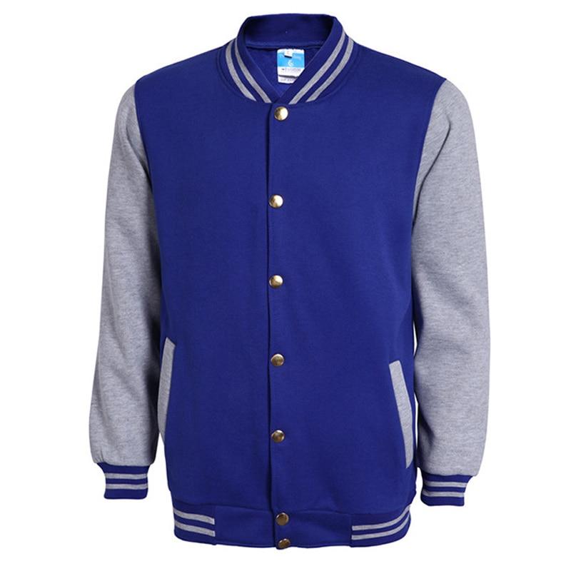 Classic Blue Varsity Baseball Jacket Men Veste Homme 2016 Autumn Fashion Brand Slim Fit Bomber College Jackets Cotton Jacket 3Xl