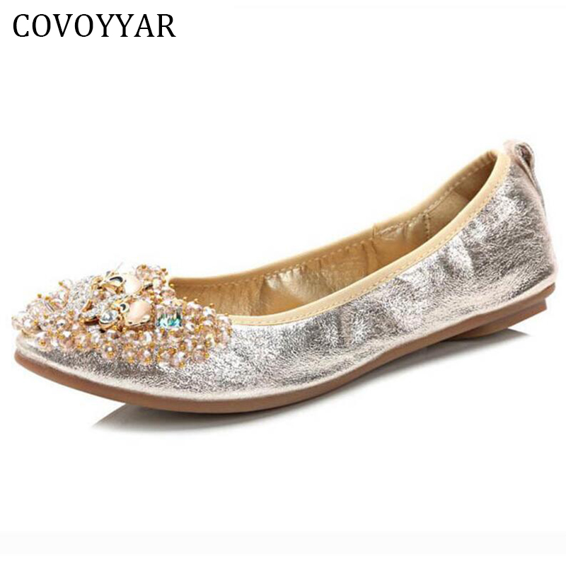 Rhinestone Fox Fold-able Ballet Flats Women Shoes 2018 Spring Fall Cute Lady Pointed Toe Female Loafers Slip On Size 40 WFS213 cresfimix women cute spring summer slip on flat shoes with pearl female casual street flats lady fashion pointed toe shoes