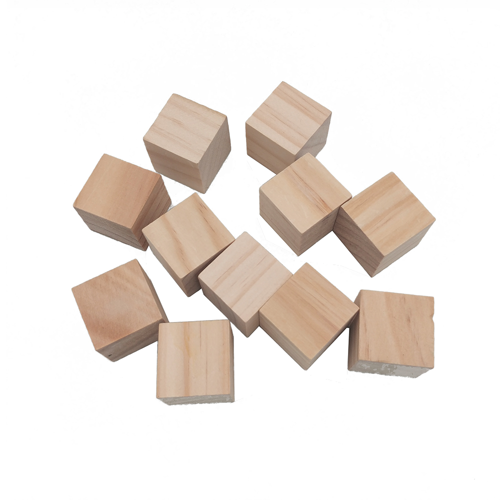 10pcs 20mm Octahedral Wooden Cubes Wood Blocks Crafts DIY Projects For Kids