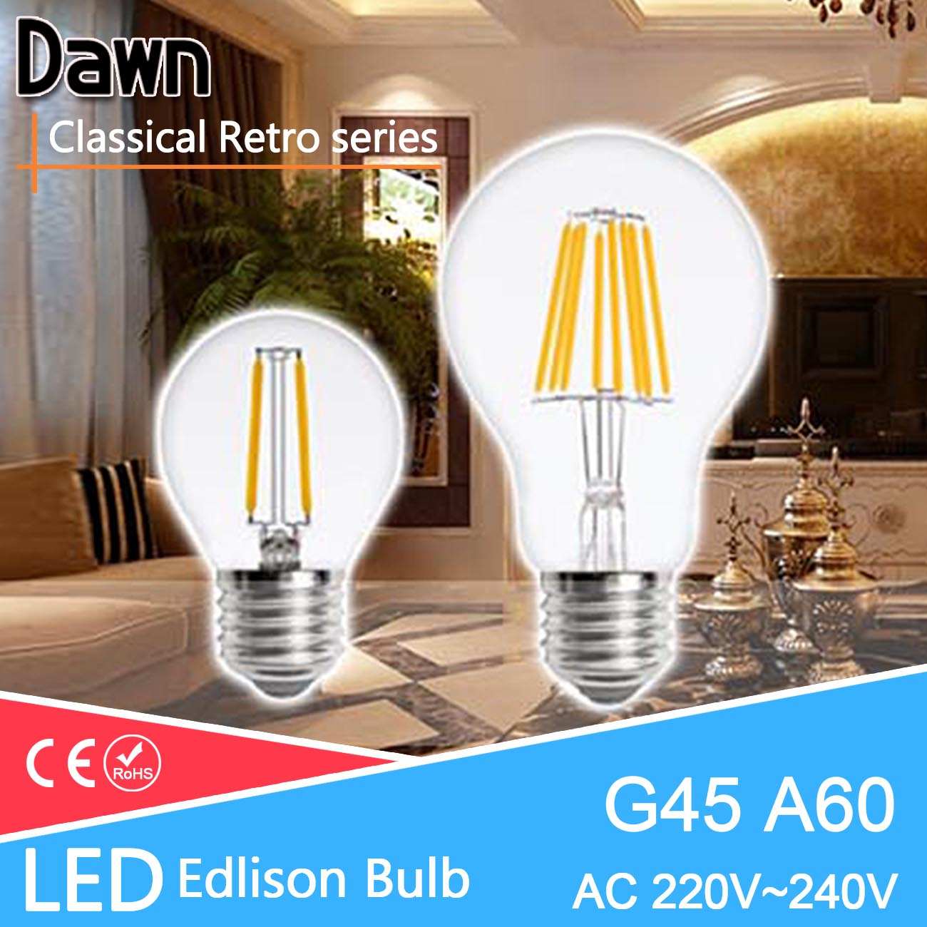 Classical Retro E27 LED Edison Bulb A60 G45 LED Filament Light 4W 8W 12W Lamp Replace 40w Incandescent Pendant Lampada Lighting