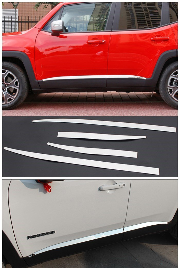 body molding door side line garnish trim cover protector styling guard lining strip chrome For Jeep Renegade 2015-2016 for jeep renegade 2015 2016 2017 side door body protection molding trim cover abs chrome decoration car styling accessories
