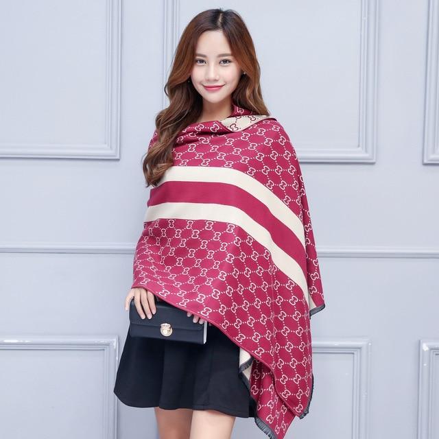 2016 Marca desigual calidad mujeres bufanda de cachemir mantones wraps bufanda letra de la manera de doble cara de espesor caliente suave invierno bufandas