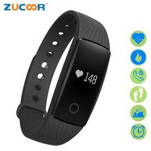Zucoor умный Браслет Браслеты Фитнес группа V05C шагомер сердечного ритма Мониторы здоровья Pulseira SmartBand импульса часы браслет