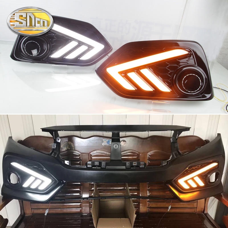 SNCN 2PCS LED Daytime Running Light For Honda Civic Hatchback 2017 2018 Turn Yellow Signal Relay 12V Car DRL Lamp Daylight for honda civic 2016 2017 2018 turn signal relay car styling waterproof 12v led car drl daytime running lights fog lamp cover