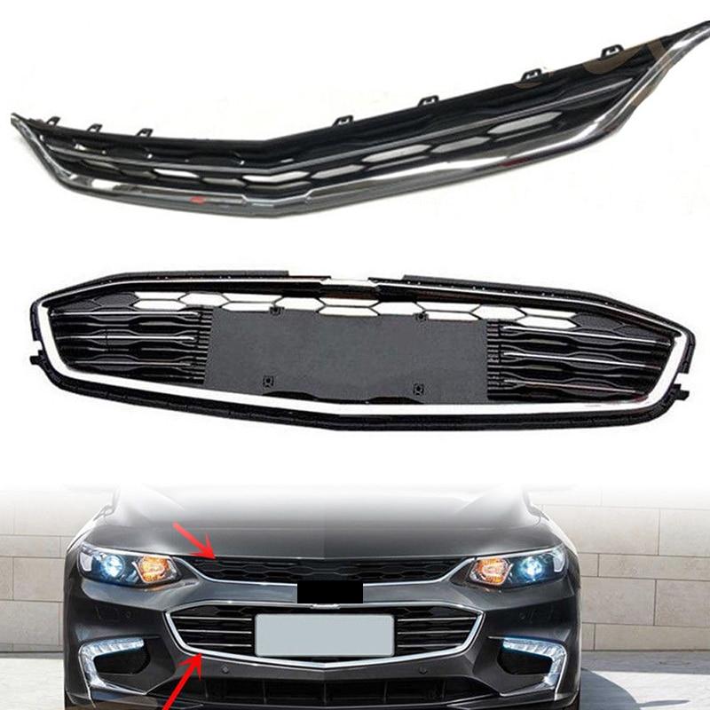все цены на 2Pcs Car Racing Grille For Chevrolet Malibu 2016 2017 2018 Grill ABS Radiator Chrome Mesh Horizontal Front Bumper Lower Modify онлайн