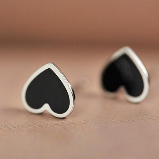 Real 925 Sterling Silver Black Heart Stud Earrings For Women S Fashion Jewelry Brincos Brinco In From