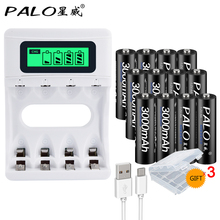 12PCS AA rechargeable battery 3000 mAh rechargeable 2a NI-MH 1.2 V battery for flash toy camera with USB intelligent LCD charger 6v 2400mah aa ni mh battery with charger high capacity electric toy battery remote car ship robot rechargeable 6 v 2400 mah