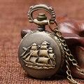 Antigüedad de La Vendimia de La Vela Mar Patrón Reloj de Bolsillo Con El Collar de Cadena Hombres Mujeres Regalo Del Niño