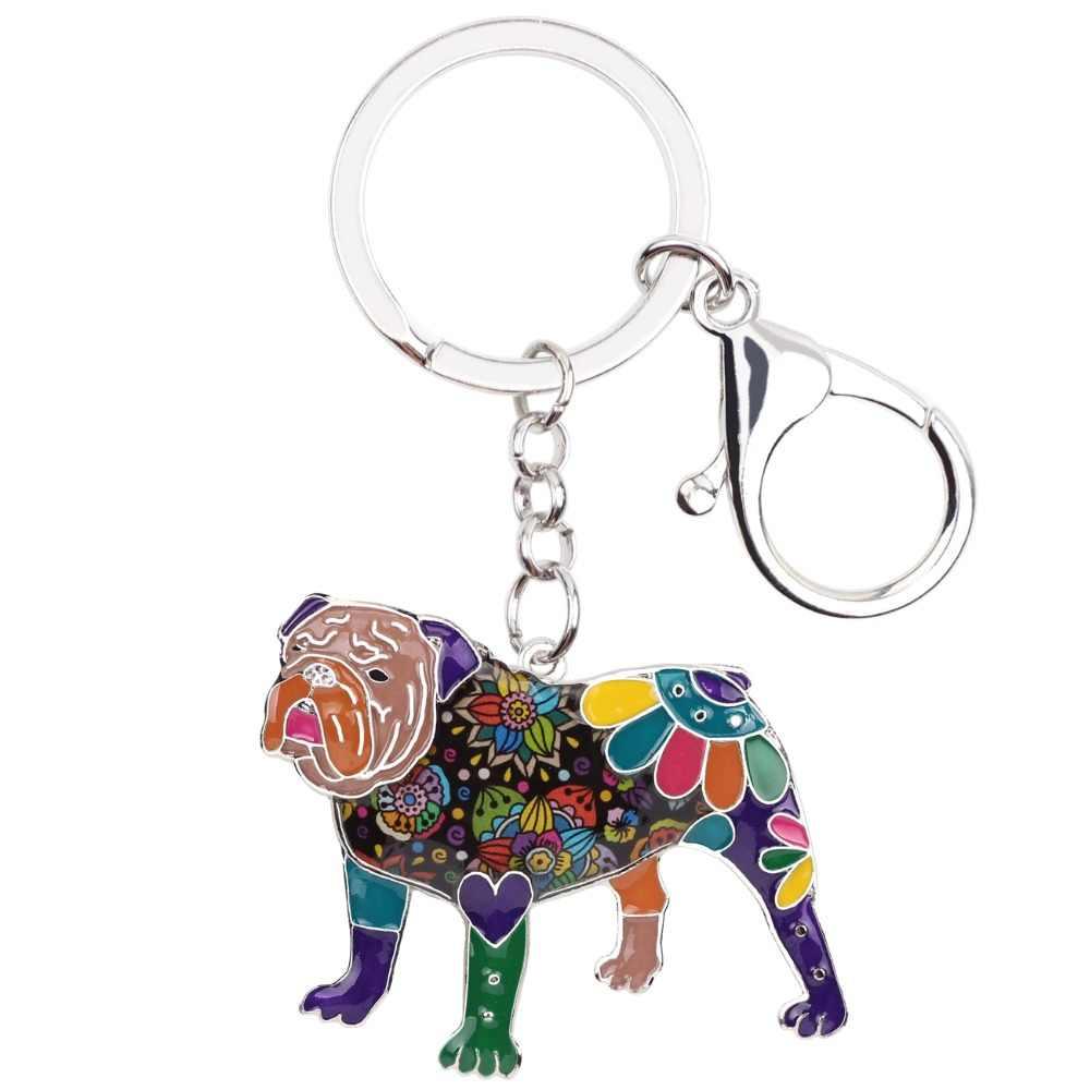 WEVENI Esmalte Metal Bulldog Inglês Bull Terrier Chaveiro Transporte da gota Anel Chave Charme Nova Moda Animais Jóias Para Mulheres