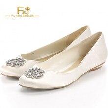 02c8c181038 Mujer Zapatos redonda dedo del pie moda blanco boda diamante zapatos planos  cómodos dama deslizamiento en apliques Rhinestone FS.