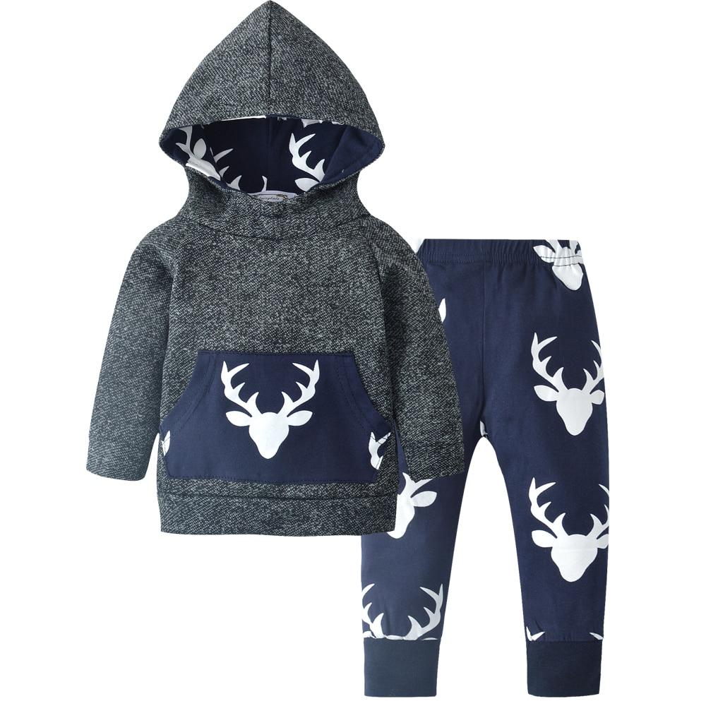 Newborn Baby Boys Girls Clothes Hooded Christmas Deer Pattern Hoodie Tops Pants Infant pcs Suit Baby
