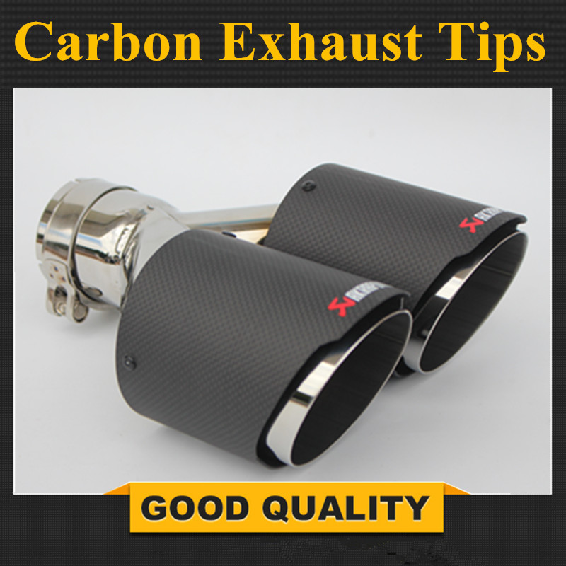 1 Piece Y Model Akrapovic Car Exhausts Dual End Tips Universal Carbon Dual End Muffler Pipes Tail Tips one pair car styling akrapovic car glossy carbon exhausts dual tips universal ak glossy carbon dual end pipe muffler pipes