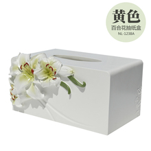 Paper Rack Lilies resin Car Home Rectangle Tissue Box Container Towel Napkin Tissue Holder home decor storage European American