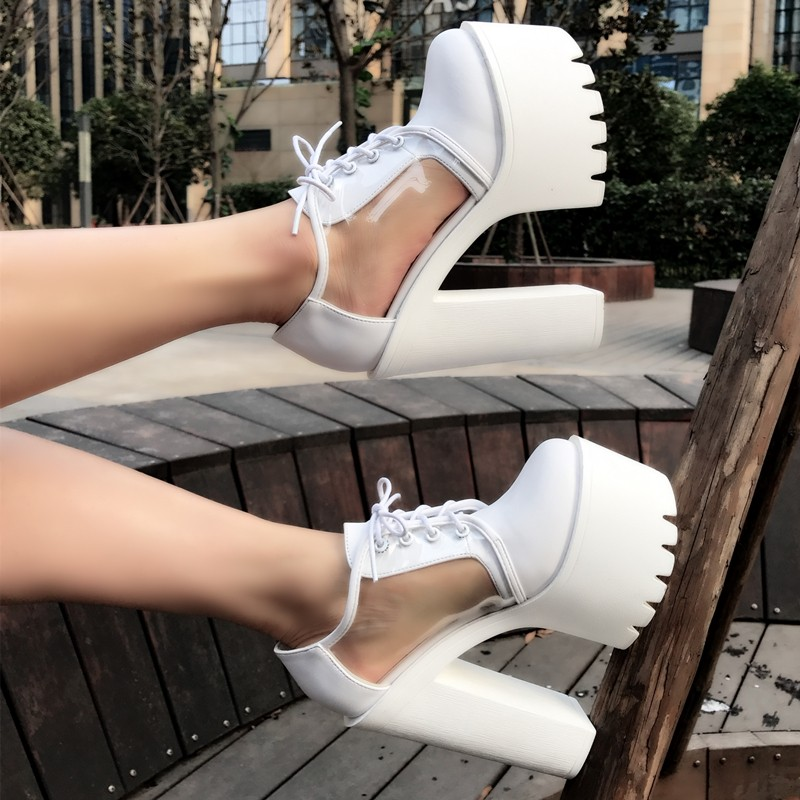GTVERNH In Spring And Summer Embroiders Fish Mouths Shallow Mouths Single Shoes Waterproof Platforms 11Cm High Heels Thin Heels WomenS Shoes.