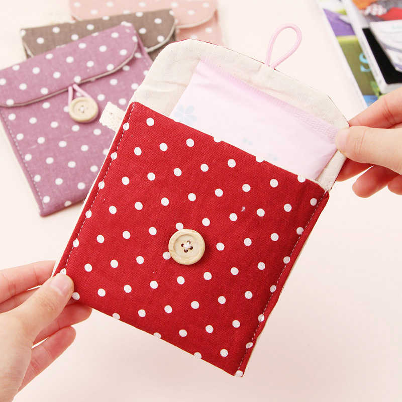 Storage Cotton Sanitary Napkin Bag for Women Organizer Hold Pad Bags Small Articles Gather Purse Pouch Case Coin Bags Makeup Set