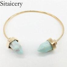 Sitaicery Boho Green White Turquoises Bracelets Ladies Metal Copper Resin Natural Stone Bangles For Women Adjustable Bracelet