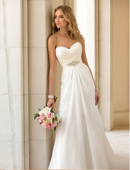 2016 New Arrival In Stock Wedding Dresses Chiffon vestidos de novia Beach Bridal Gowns White/ Ivory / Red Boho Wedding dress