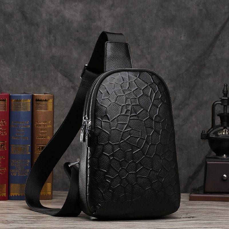 Men Genuine Leather Chest Crossbody Bag Casual Men Messenger Bag High Quality Chest Pack Cow Leather Shoulder Bag