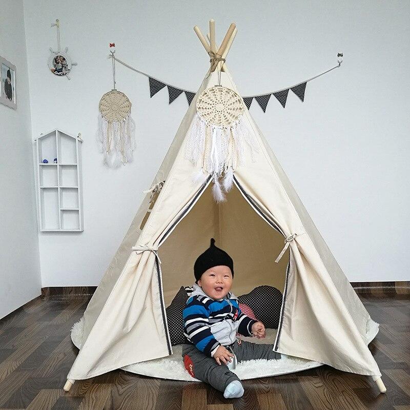 [TOP] doux coton enfants jouer tente blanc Prince princesse Playhouse château maison jouet cinq pôles enfants tipis pour garçons maison Tipi