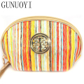 GUNUOYI New Stripe Cosmetic Bag Large Capacity Handbag Travel Makeup Velvet Bag to Wash the Organizers Bag NBHH~107