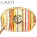 GUNUOYI New Stripe Cosmetic Bag Large Capacity Handbag Travel Makeup Velvet Bag to Wash the Organizers Bag NBHH~107