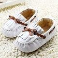 Infant Toddler Bebé Recién Nacido Niños Zapatos de Prewalker Unisex Borlas Blanco Mocasines de Cuero Suaves Del Bebé Calzado Zapatos de Ninas