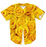 Real USA American Size yellow roses high quality 3D sublimation printing button up jersey 3XL 4XL 5XL 6XL